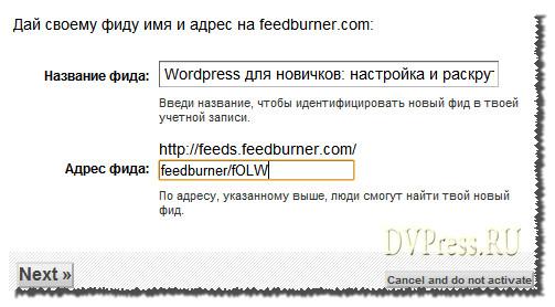 Даем название своему аккаунту Feedburner