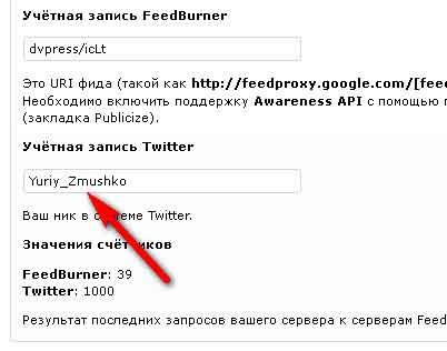 Плагин Simple Counters - вывод числа подписчиков Twitter и RSS
