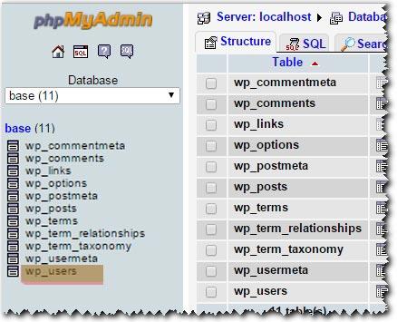 Как изменить пароль через PhpMyAdmin (базу данных MySQL)