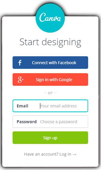 Регистрация на сервисе canva.com